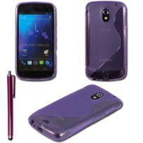 Vcomp - Housse Etui Coque souple silicone gel motif S-line pour Samsung Galaxy Nexus i9250/ i9250M/ Google Nexus 3 + stylet - Violet