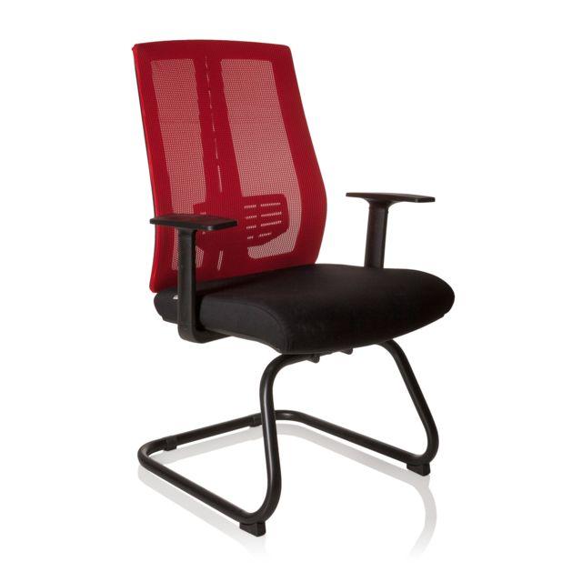 Chaise visiteur chaise de conférence siège Solento V noir rouge