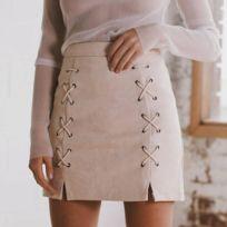b85fcebb23149 Wewoo - Jupes Femme abricot Automne Hiver Femmes Suede Cross Straps Paquet  Hanche Solide Couleur Mode