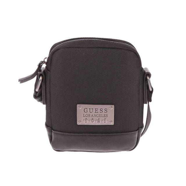d0b457ddd471 Guess - Petite sacoche zippée en toile piquée noire - pas cher Achat   Vente  Besaces et bandoulières - RueDuCommerce