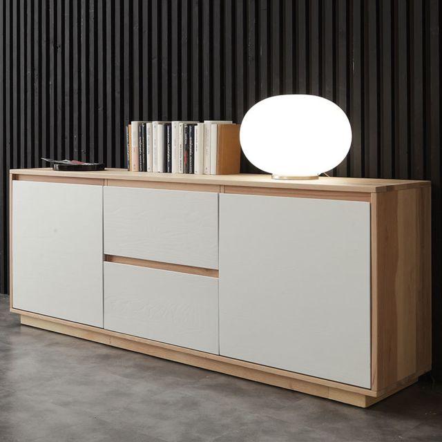 Nouvomeuble Buffet scandinave bois et blanc Helia