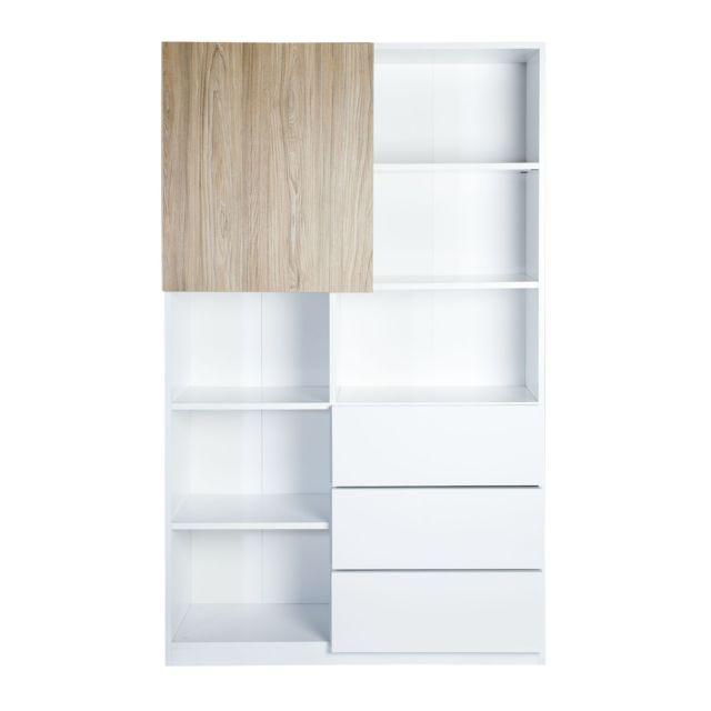 alinéa - arsene bibliothèque blanche avec 1 porte battante coloris