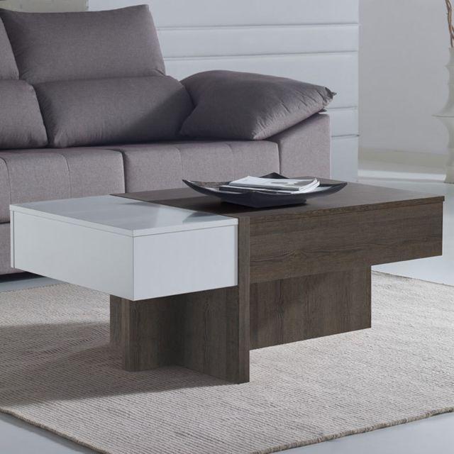 Nouvomeuble Table salon modulable moderne couleur chêne et blanc Sybille 2