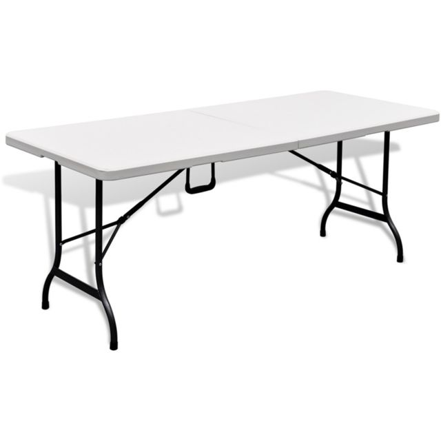 Pegane - Table de jardin pliable blanche en Hdpe - 180 x 75 x 74 cm ...