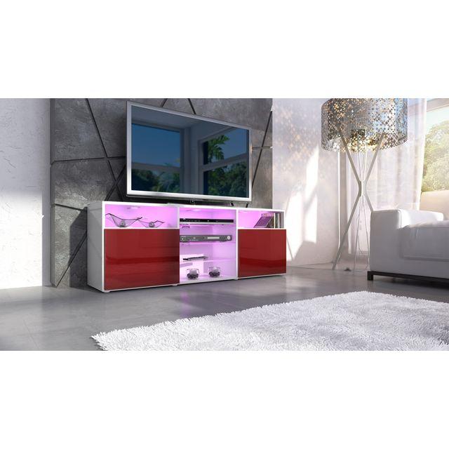 Mpc Meuble design tv blanc et bordeaux avec led