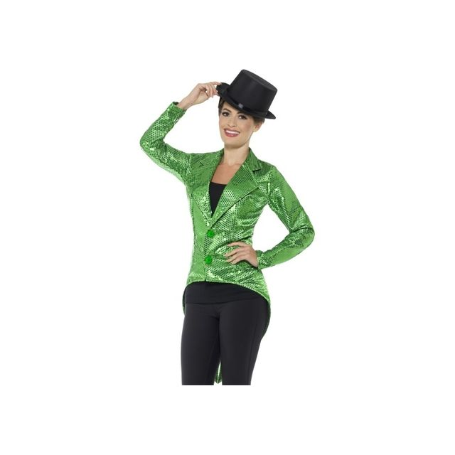 Marque Generique - Veste queue de pie verte à sequins pour femme ... 3aefaf0bf10