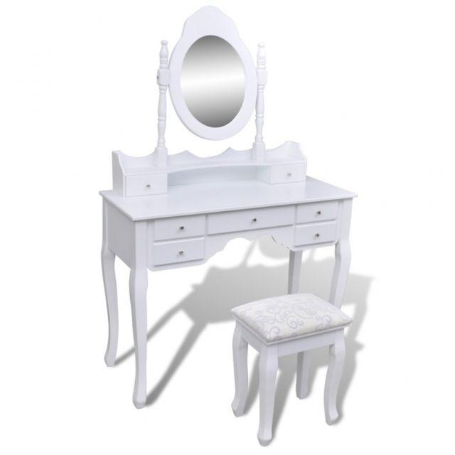 Coiffeuse avec miroir et tabouret blanc meuble chambre 1402003