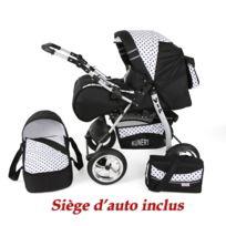 Kunert - Poussette / Landau combiné 3en1 multifonctions avec équipement bébé enfant 0-36m Roues en mousse Volver | Noire - Points noirs