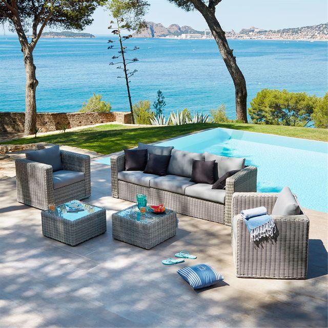 Alinéa - Santorini Salon de jardin gris effet rotin tressé 6 places ...