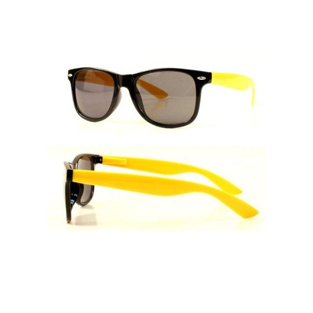 bbf155eea55933 Universel - Lunette de soleil style retro noir et jaune rock homme ...