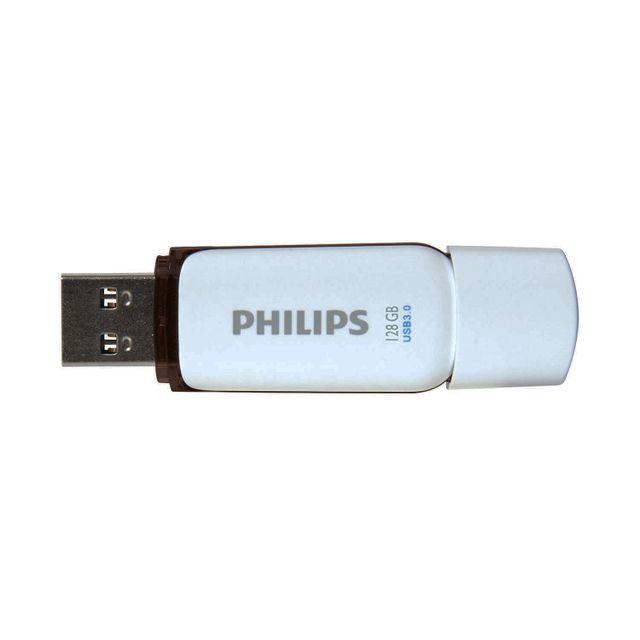 PHILIPS Clé USB 128 Go - FM128FD75B - Blanc Points fortsFacile à utiliser via Plug & Play.Le lecteur flash USB 3.0 Philips a une vitesse de 120 Mo / s,L'échange de fichiers en un instant.