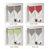 Bonareva - Paire de voilage - 45 x 160 cm - Bicolore blanc/rouge