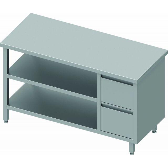 Materiel Chr Pro Table Inox Avec Tiroir A Droite et 2 Etagères - Gamme 600 - Stalgast - inox 800x600 600