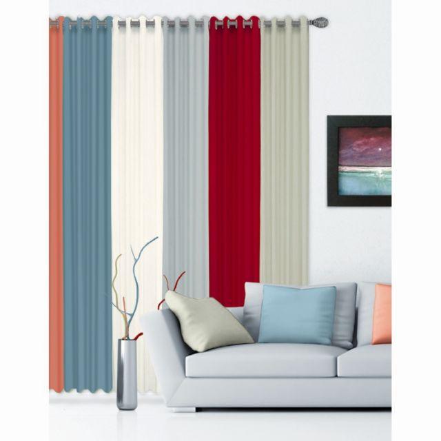 rideau austin 140 x 260 cm coton bleu p trole nc pas cher achat vente rideaux rueducommerce. Black Bedroom Furniture Sets. Home Design Ideas