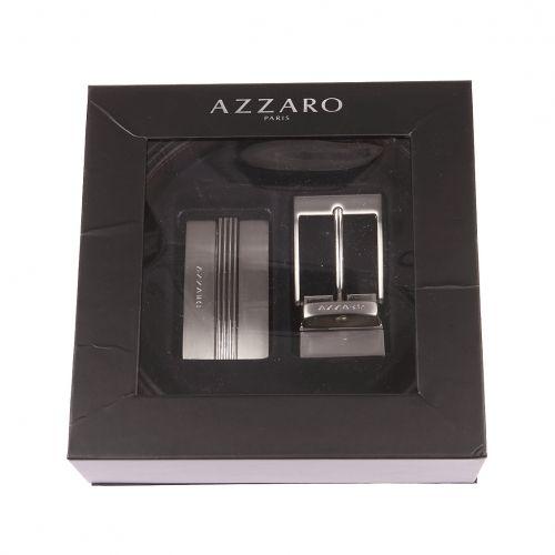 734139e5310 Azzaro - Coffret ceinture ajustable en cuir noir réversible marron   boucle  pleine argentée à relief et boucle classique argentée - pas cher Achat    Vente ...