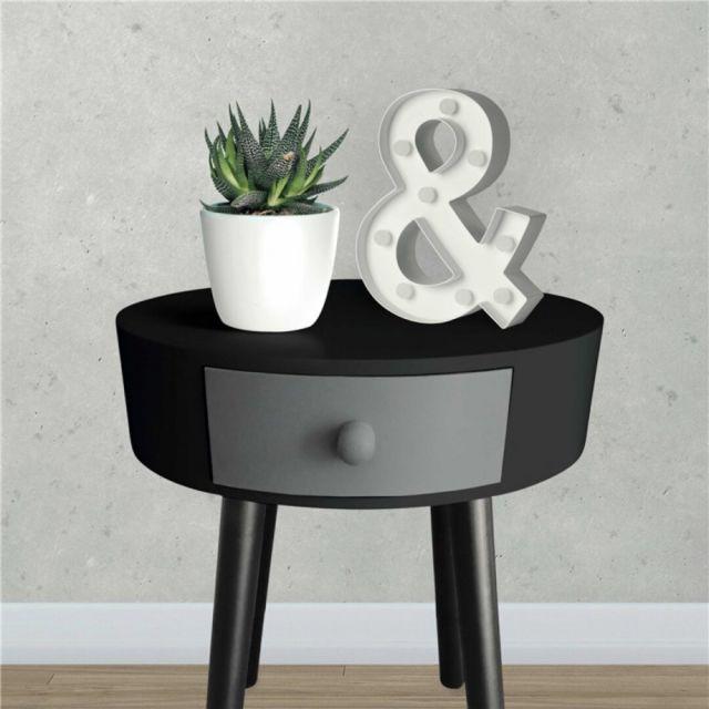 Zoli99 Table d'appoint Kamille Noir et Gris