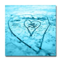 Boniday - Plexiglass photo coeur dans le sable turquoise 30 x 30 cm