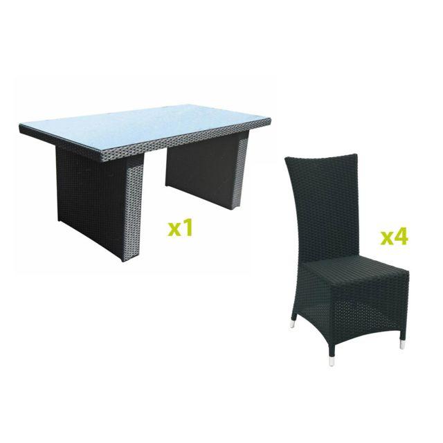 Hespéride - Salon de jardin alu/rattan Barbados noire + 4 chaises ...