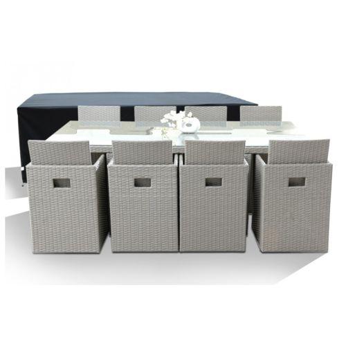 DCB GARDEN - Salon de Jardin avec 8 fauteuils encastrables gris ...