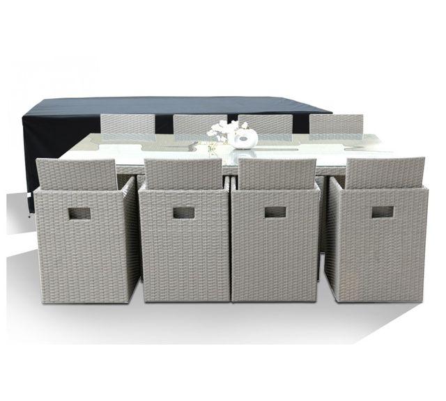 Dcb Garden Salon de Jardin avec 8 fauteuils encastrables gris clair et housse de protection