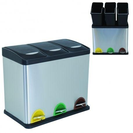 msv poubelle tri selectif 3 seaux pas cher achat vente poubelle de cuisine rueducommerce. Black Bedroom Furniture Sets. Home Design Ideas