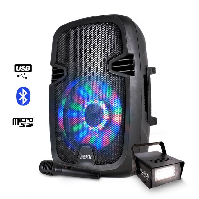 Party Sound Enceinte mobile batterie 300W à Leds Usb/BT/FM/SD + Stroboscope 20W