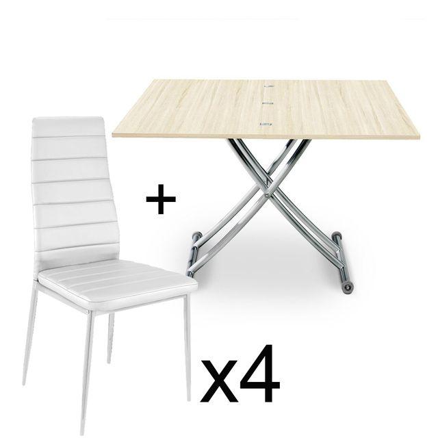 Table basse relevable Chêne Clair et lot de 4 chaises Blanc