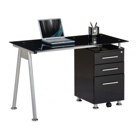 Amazing hjh office bureau table nero noir verre noir for Meuble bureau noir pas cher