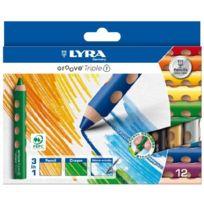Lyra - Crayons De Couleur Groove Triple 1, ÉTUI De 12 Crayons 3 En 1