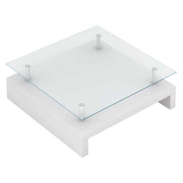 Autre Table basse de salon salle à manger design blanche verre 77 x 77 cm 0902009