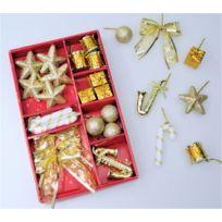 Somoplast - 2 Lots de suspensions dorées - 58 décorations pour sapin de Noël