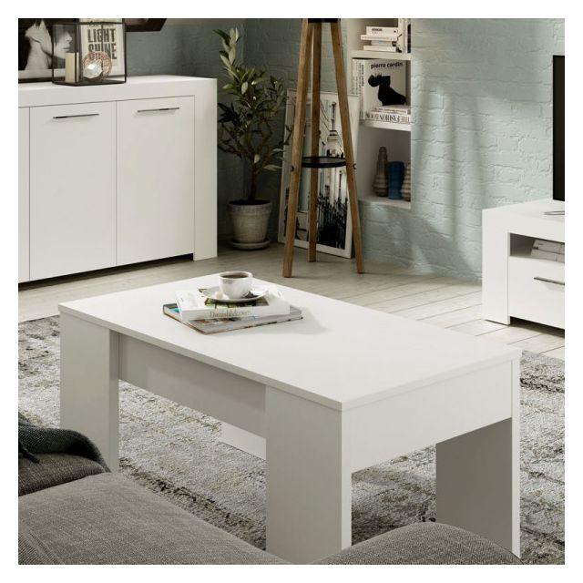 Dansmamaison Table basse relevable Blanc mat - Ruyruy - L 100 x l 50 x H 45 cm