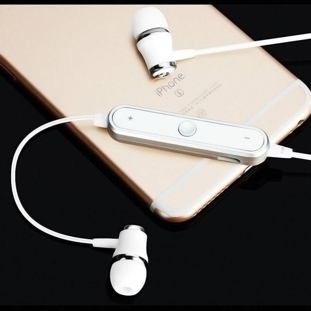 Ecouteurs Bluetooth Anneau pour HTC U11 Smartphone Sans Fil Telecommande Son Main Libre INTRA AURICULAIRE Universel BLANC