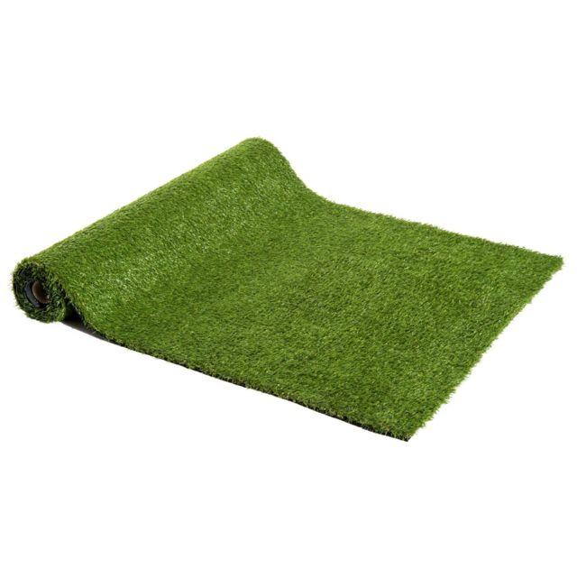 OUTSUNNY Gazon synthétique artificiel moquette extérieure intérieure 3L x 1l m herbes hautes denses 2,5 cm vert 25