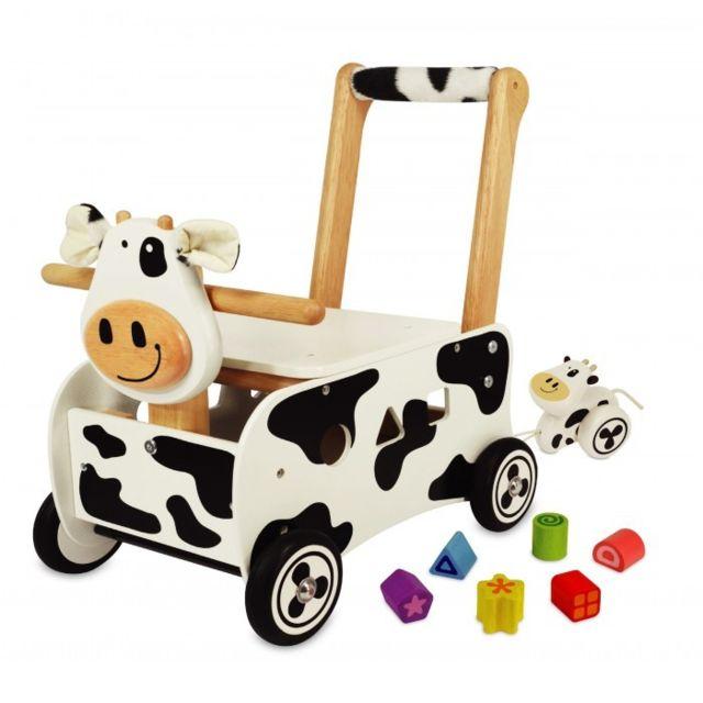 I M Toy - Pousseur porteur en bois Clara la vache Im87131 - pas cher ... 9fe278f4db0