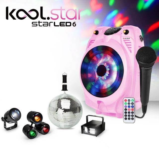 Koolstar Enceinte mobile Karaoke rose à Led Rvb Usb/BT + Micro filaire + Pack lumière Fiesta enfant
