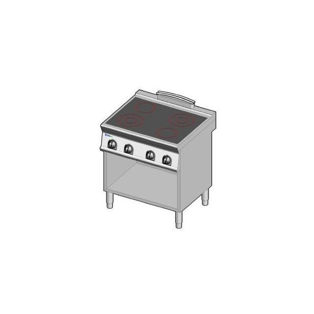 Materiel Chr Pro Piano de cuisson électrique vitrocéramique sur placard - 4 plaques - gamme 700 - Tecnoinox - 700