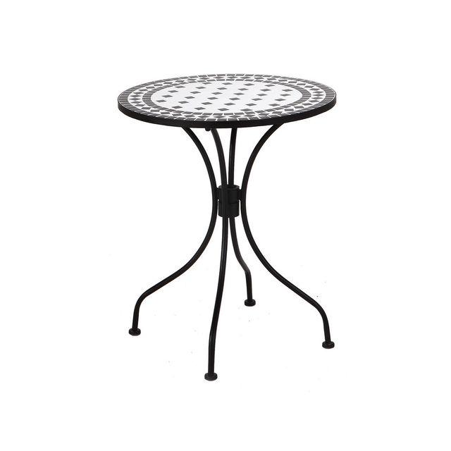 Mathilde Et Pauline Table ronde en céramique et acier diamètre 60cm noir et blanc Agatha