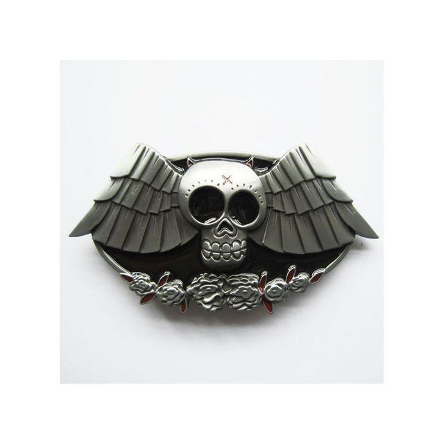 Universel - Boucle de ceinture crane chauve souris tete de mort rock ... 5cf1817b13c