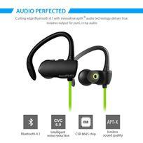 Alpexe - Casque Bluetooth 4.1 stéréo oreillette sans fil Sport / Course à pied / Exercice, écouteur intra auriculaire de rédution du bruit, compatible avec la plupart des appareils bluetooth Q9A Vert
