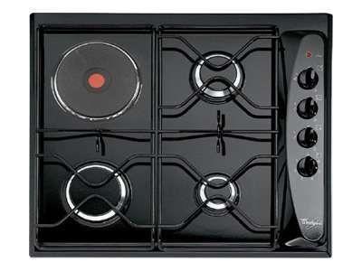whirlpool table de cuisson mixte gaz et lectrique 60cm 4 feux noir akm261nb achat plaque de. Black Bedroom Furniture Sets. Home Design Ideas