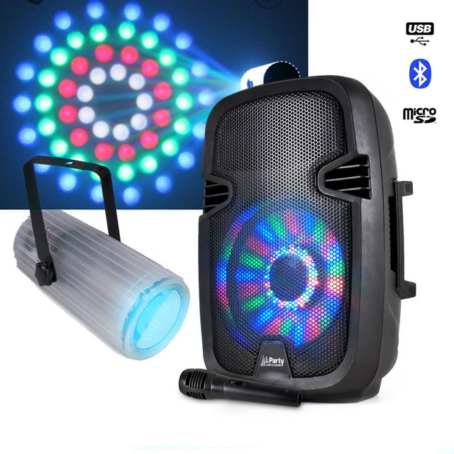 Party Sound Enceinte à Leds batterie 300W Bluetooth + Micro + Moonflower 60 Leds