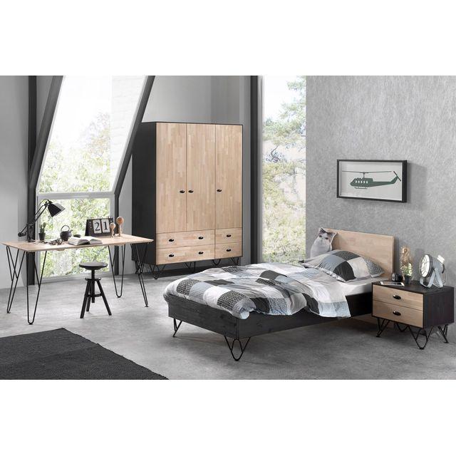 Ensemble Complet 4 Pieces Pour Chambre Moderne Avec Lit 90x200 Cm Chevet Armoire 3 Portes Et Bureau Coloris Brun Et Noir