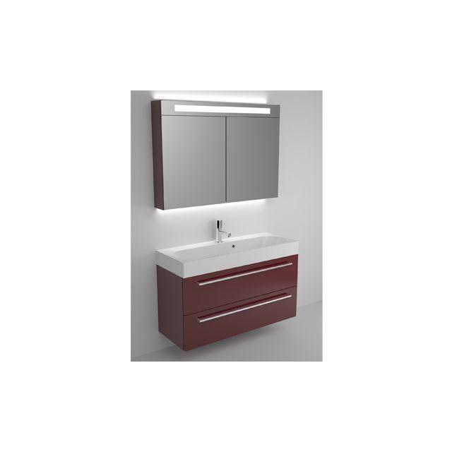 Riho Ensemble meuble & lavabo Slimline Set 70 en bois laqué brillant 100x38 H 60,5 cm