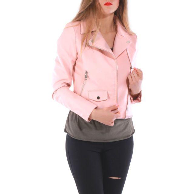 Lamodeuse - Blouson rose en simili cuir - pas cher Achat   Vente Veste femme  - RueDuCommerce d020d7c40e5b
