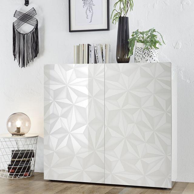 Sofamobili Meuble argentier design blanc laqué Antonio