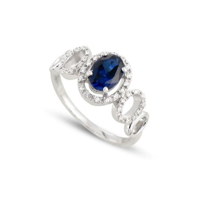 8418d9d73909d Tousmesbijoux - Bague cassandre en Or blanc 750 00, diamants et saphir