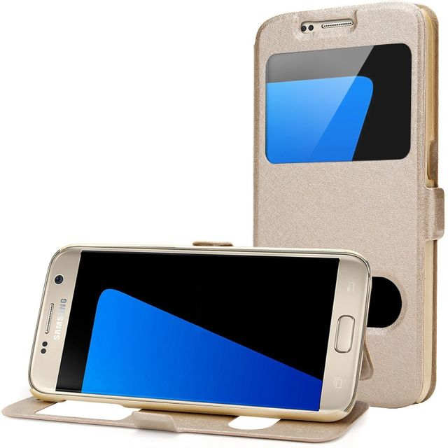 Cabling - Coque Etui Housse folio à fenêtre Samsung Galaxy S7 Edge  décrochage rapide 2 fenêtres - Contour intérieur silicone incassable - or - pas  cher ... e3b77e6e82dd