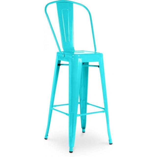Privatefloor Tabouret inspiration Tolix assise carrée avec dossier Xavier Pauchard Style - 60cm Turquoise