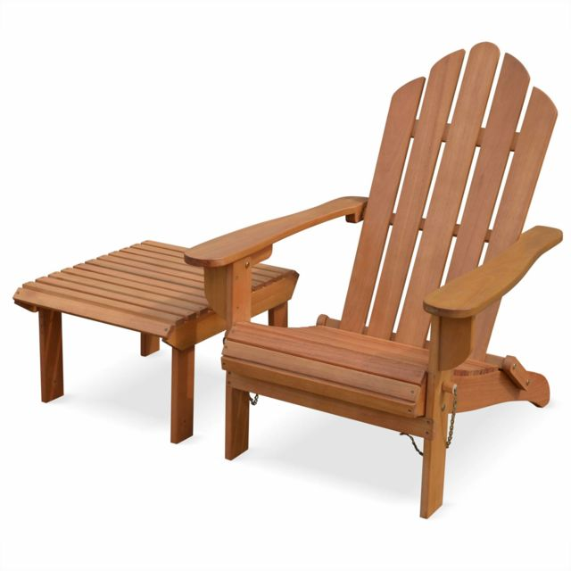 ALICE\'S GARDEN - Fauteuil de jardin en bois avec repose-pieds/table ...